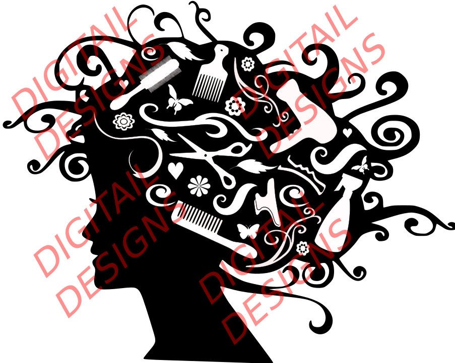 Best hair styling clipart png library Pin by Digitail Designs on Silhouette | Styling tools, Hairdresser ... png library