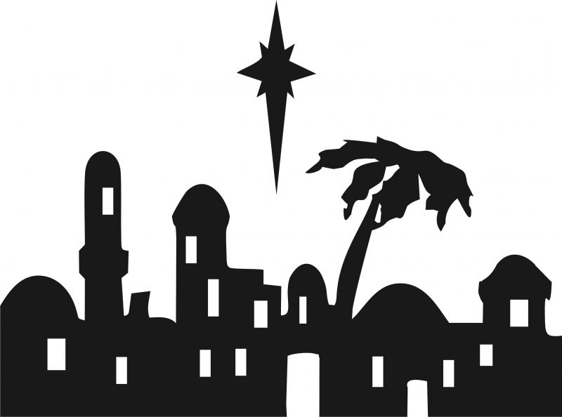 Bethlehem at night black and white clipart vector black and white stock Nativity - Bethlehem Skyline Silhouette Laser Cut Applique Set ... vector black and white stock