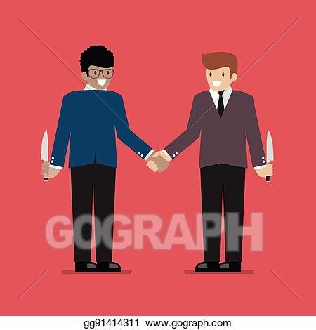 Betrayal clipart jpg freeuse download Vector Clipart - Businessmen hiding the knife for betrayal or back ... jpg freeuse download
