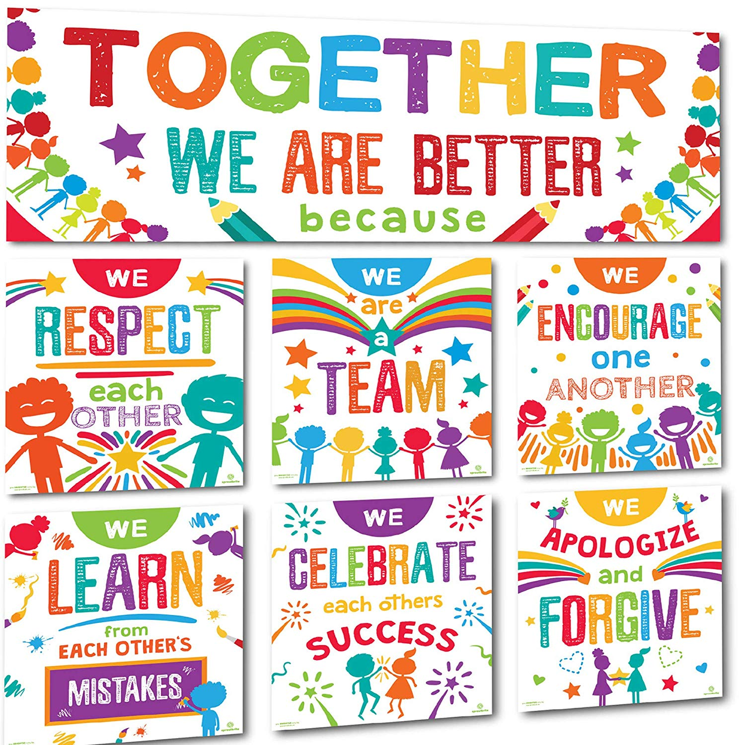 Better together words banner clipart graphic transparent library Sproutbrite Classroom Banner Decorations and Poster Bulletin Board Set -  Together We are Better graphic transparent library