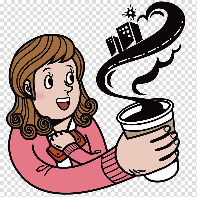 Beverage cup clipart black and white stock Coffee Cafe Cartoon Illustration, girl holding a beverage cup ... black and white stock