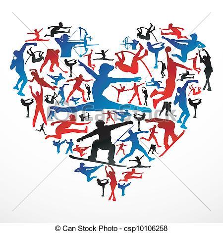 Vektor von herz silhouetten. Bewegung und sport clipart