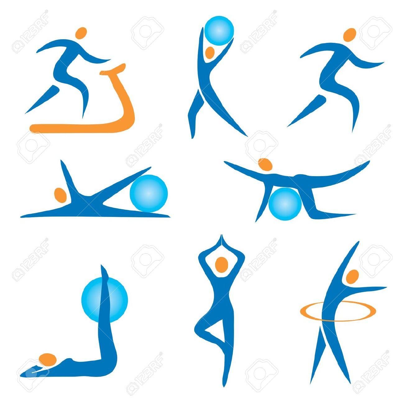 Bewegung und sport clipart. Set aus fitness bunten