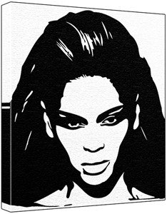 Beyonce black and white clipart clipart black and white stock Beyonce Knowles Pop Art Painting (100% Original Painting. Not a ... clipart black and white stock