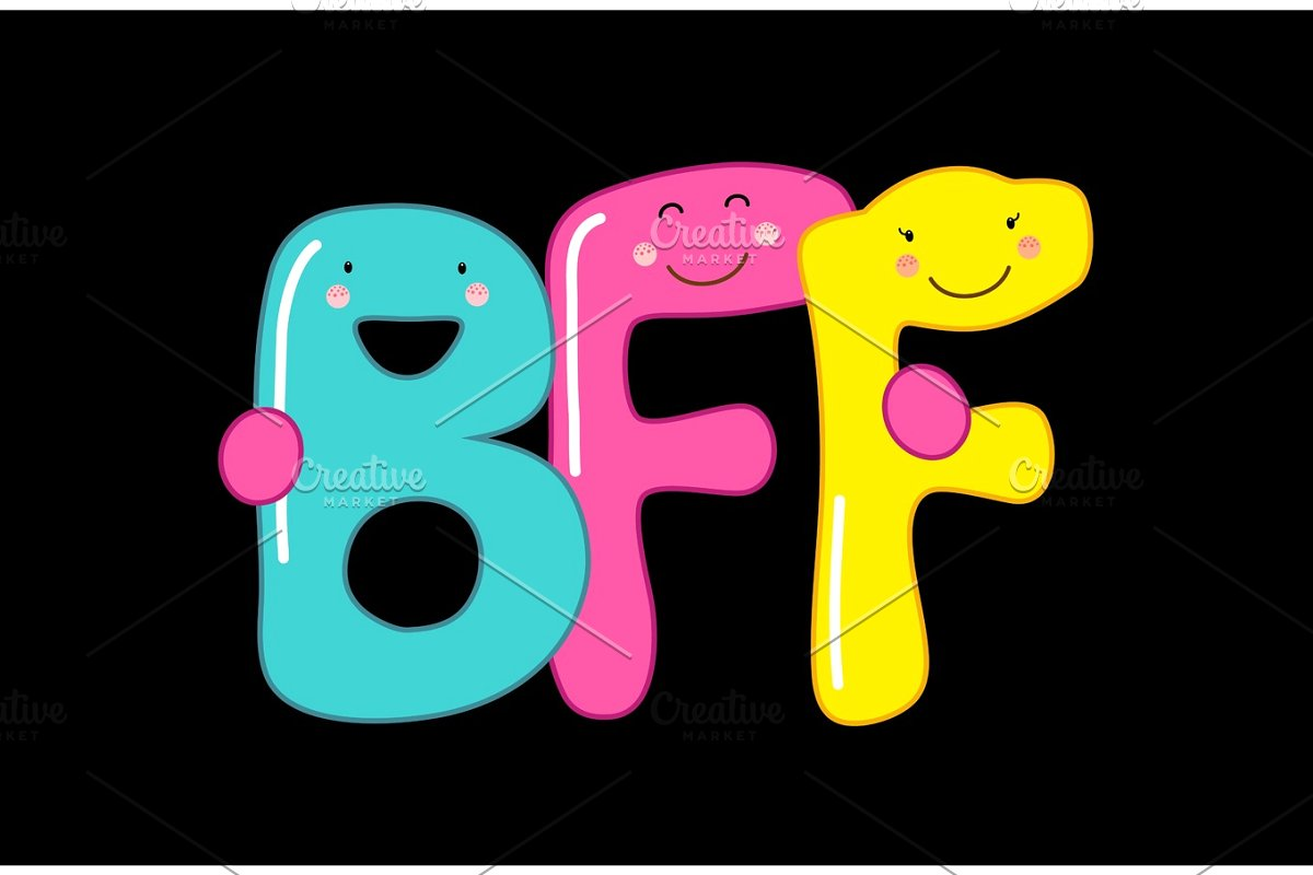 Bff forever script black and white clipart clip art royalty free download Cute smiling cartoon characters of letters BFF (Best Friends Forever) clip art royalty free download