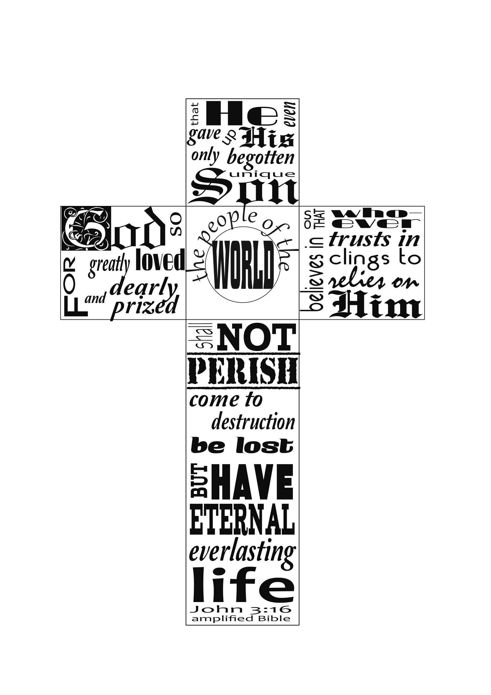 Bible and cross black and white clipart png royalty free library Clipart - John 3:16 typography in cross png royalty free library