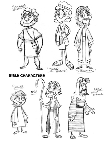 Characters for kids cartoon. Bible character clipart black and white