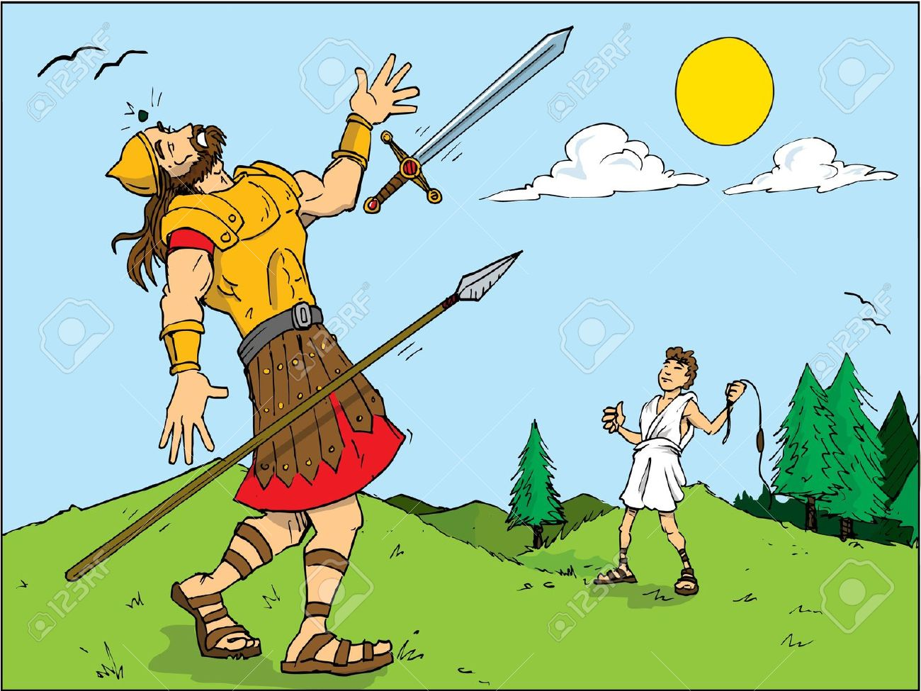 Bible character david clipart jpg stock Cartoon Of Goliath Defeated By David. Bible Story Royalty Free ... jpg stock