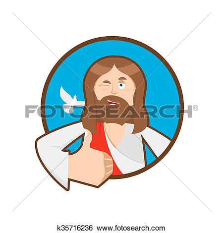 Bible character face man clipart vector black and white download Clip Art of Jesus hands shows thumbs upl. Son of God. Signs all ... vector black and white download