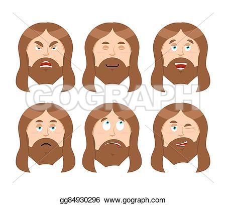 Bible character face man clipart jpg library stock Vector Stock - Jesus emotions. set expressions picture of jesus ... jpg library stock