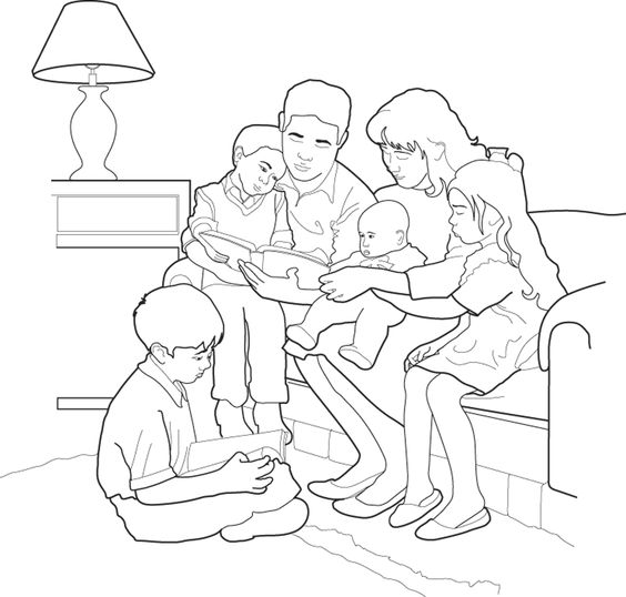 Bible clipart color sheet svg royalty free A family reading together. Children's coloring page from lds.org ... svg royalty free