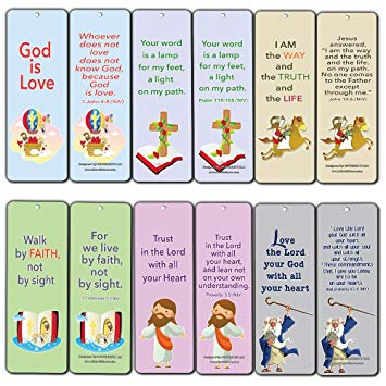 Bible clipart walk with god clipart download Christian Cards Bookmarks for Kids Boys Girls (60-Pack) - Bible ... clipart download