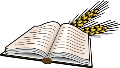 Open bible images clipart graphic transparent library Image: Open Bible with heads of wheat | Bible Clip Art | Christart.com graphic transparent library