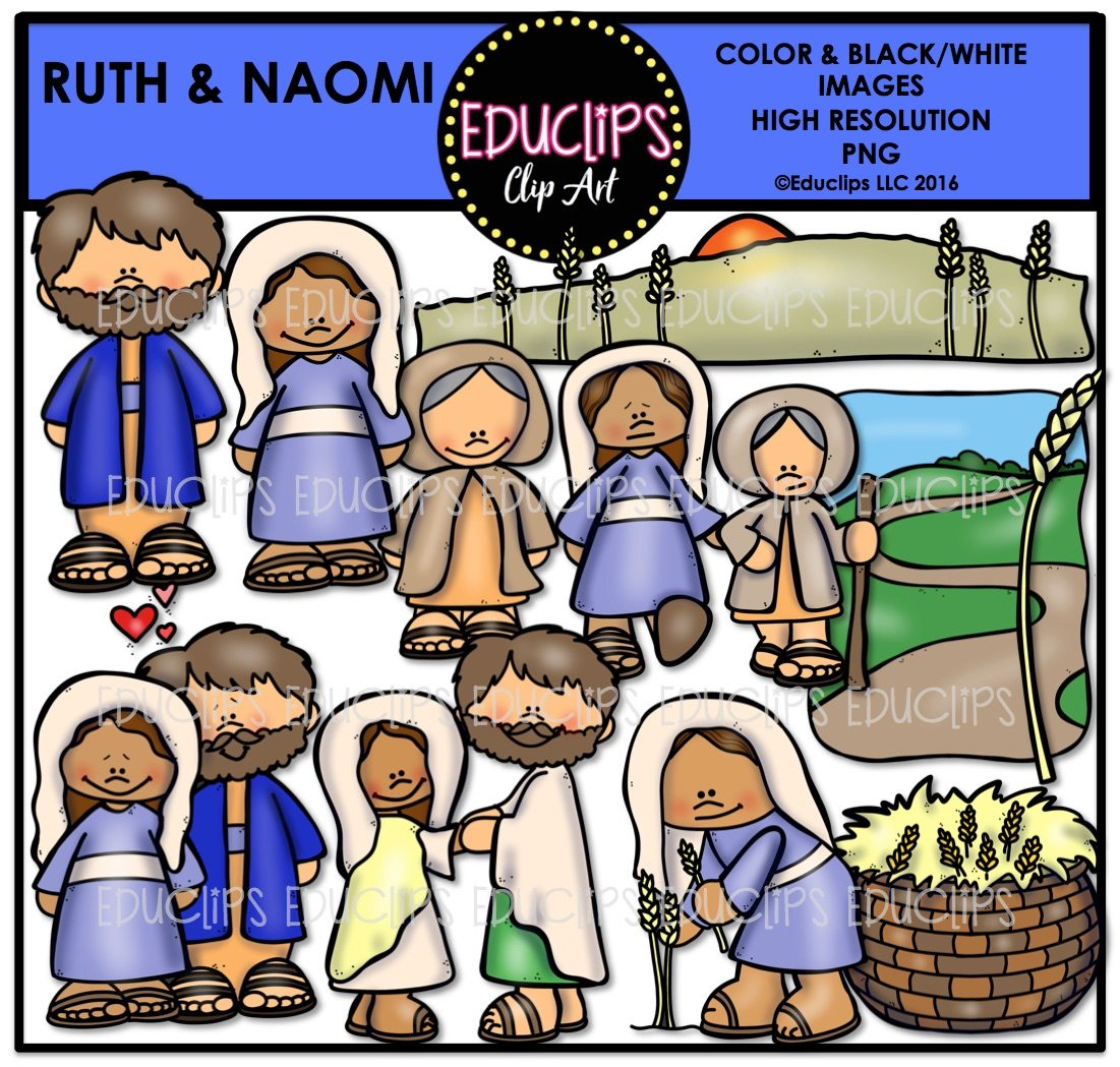 Bible stories clipart graphic black and white Bible Stories - Ruth & Naomi Clip Art Bundle (Color and B&W) graphic black and white