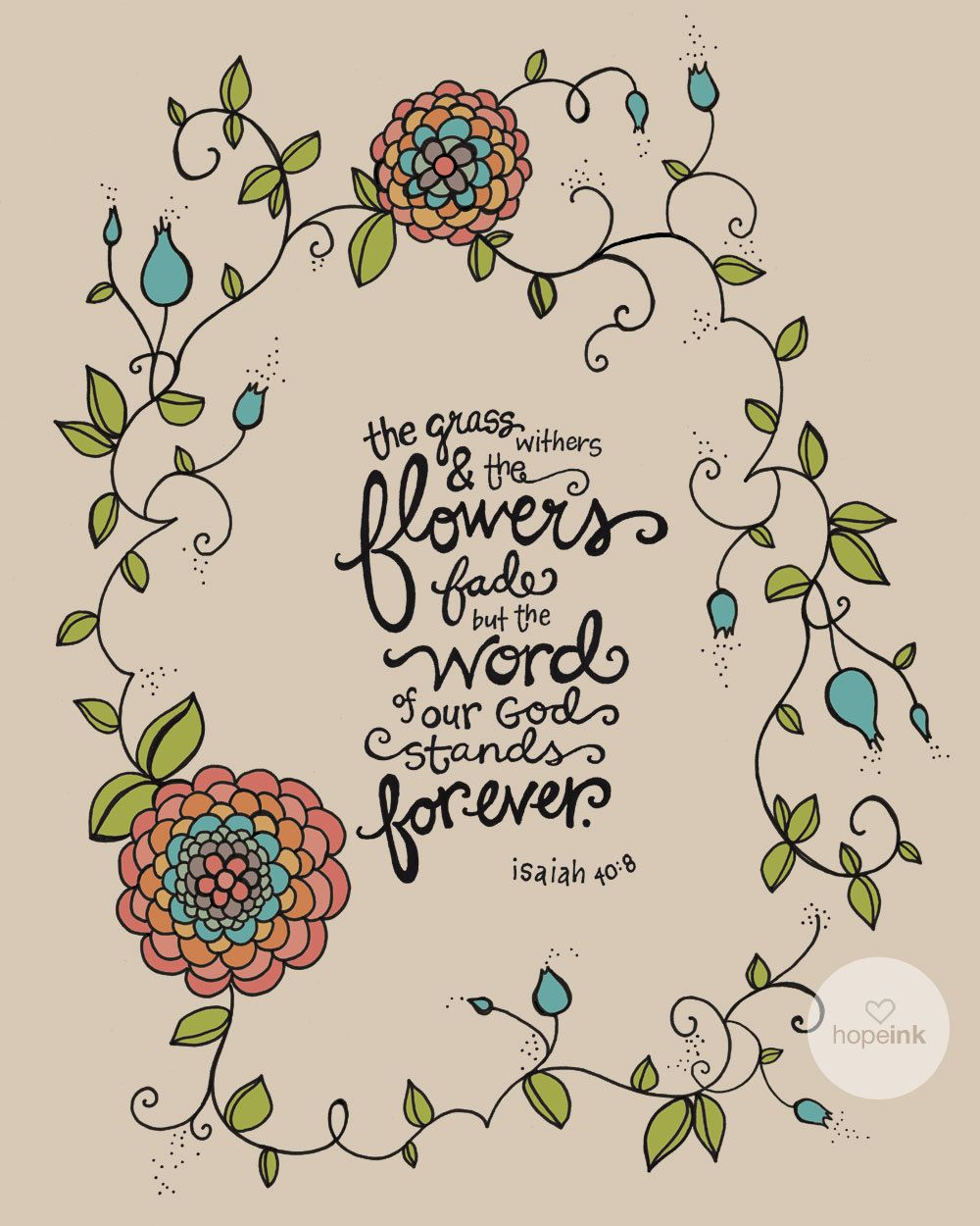 Bible verse about outdoors clipart jpg black and white Scripture Art, Bible Verse, Hand Drawn Flower Illustration, Forever ... jpg black and white