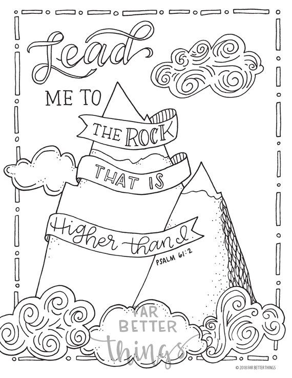 Bible verses for sunday school clipart black and white jpg free library Bible Verse Coloring Page - Psalm 61:2 - Printable Coloring Page ... jpg free library