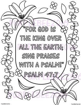 Bible verses for sunday school clipart black and white banner Bible Verse Coloring Page Psalm 47:7 banner