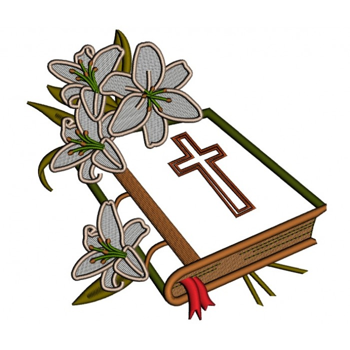 Bible with flowers clipart clipart transparent stock Bible With Beautiful Flowers Religious Applique Machine Embroidery Design  Digitized Pattern clipart transparent stock