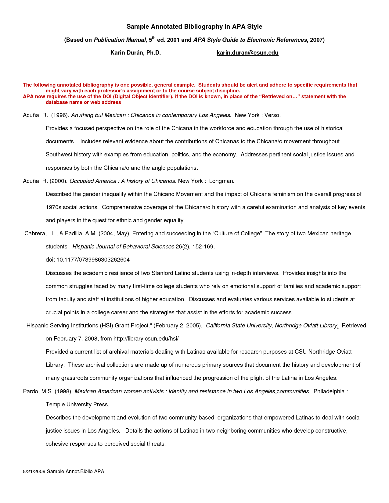 Annotated for website essay. Bibliography apa