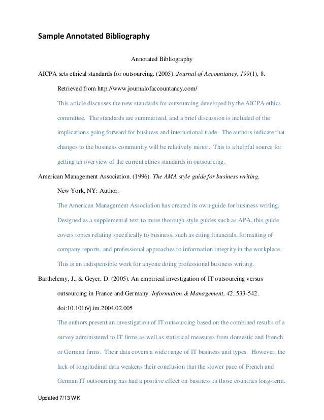 Bibliography apa. Annotated