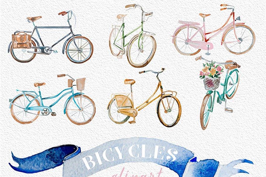 Bicycle clipart vintage vector Watercolor Vintage Bicycles Clipart vector