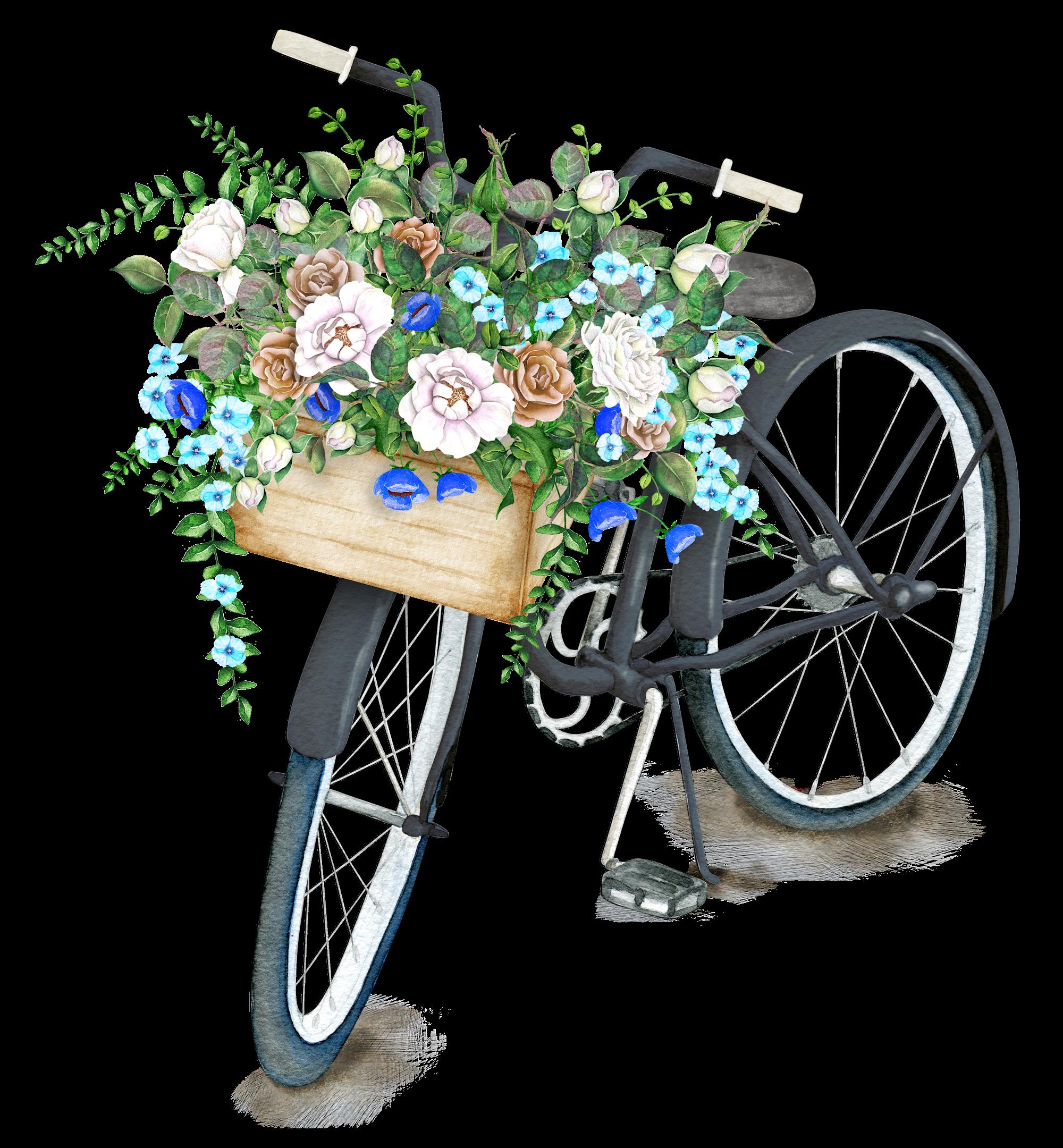 Bicycle with flower basket clipart clip art royalty free download Pin by Özen Ürkmez Kılıç on dekopaj resimleri | Pinterest | Flowers ... clip art royalty free download