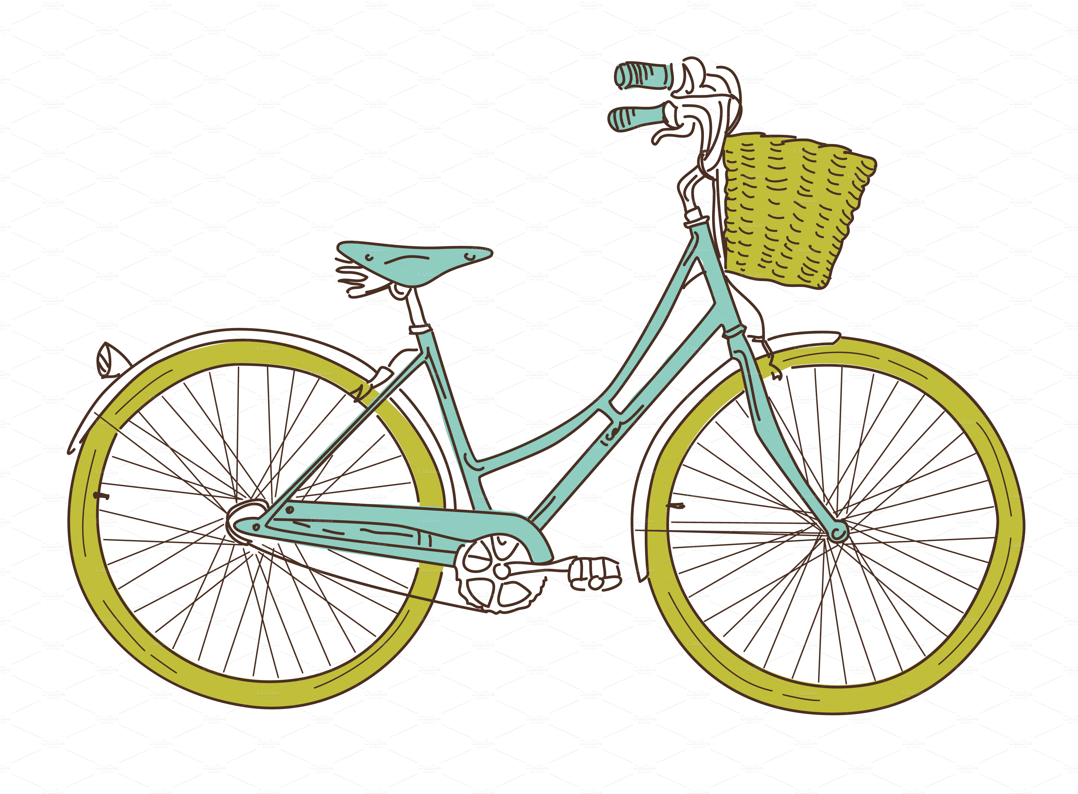 Bicycle with flower basket clipart banner freeuse stock Bike bicycle clip art vector bicycle graphics clipart me ... banner freeuse stock