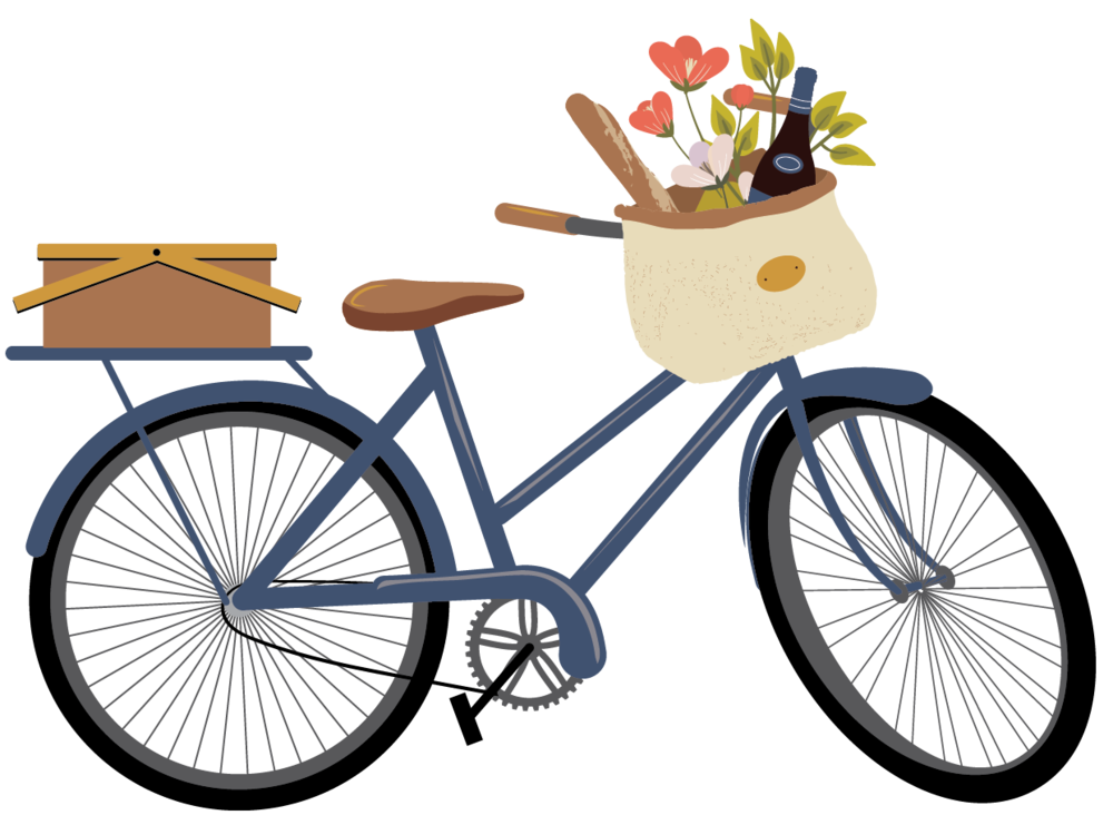 Bicycle with flower basket clipart vector library stock Basket & Bike Gift Card — BASKET & BIKE vector library stock