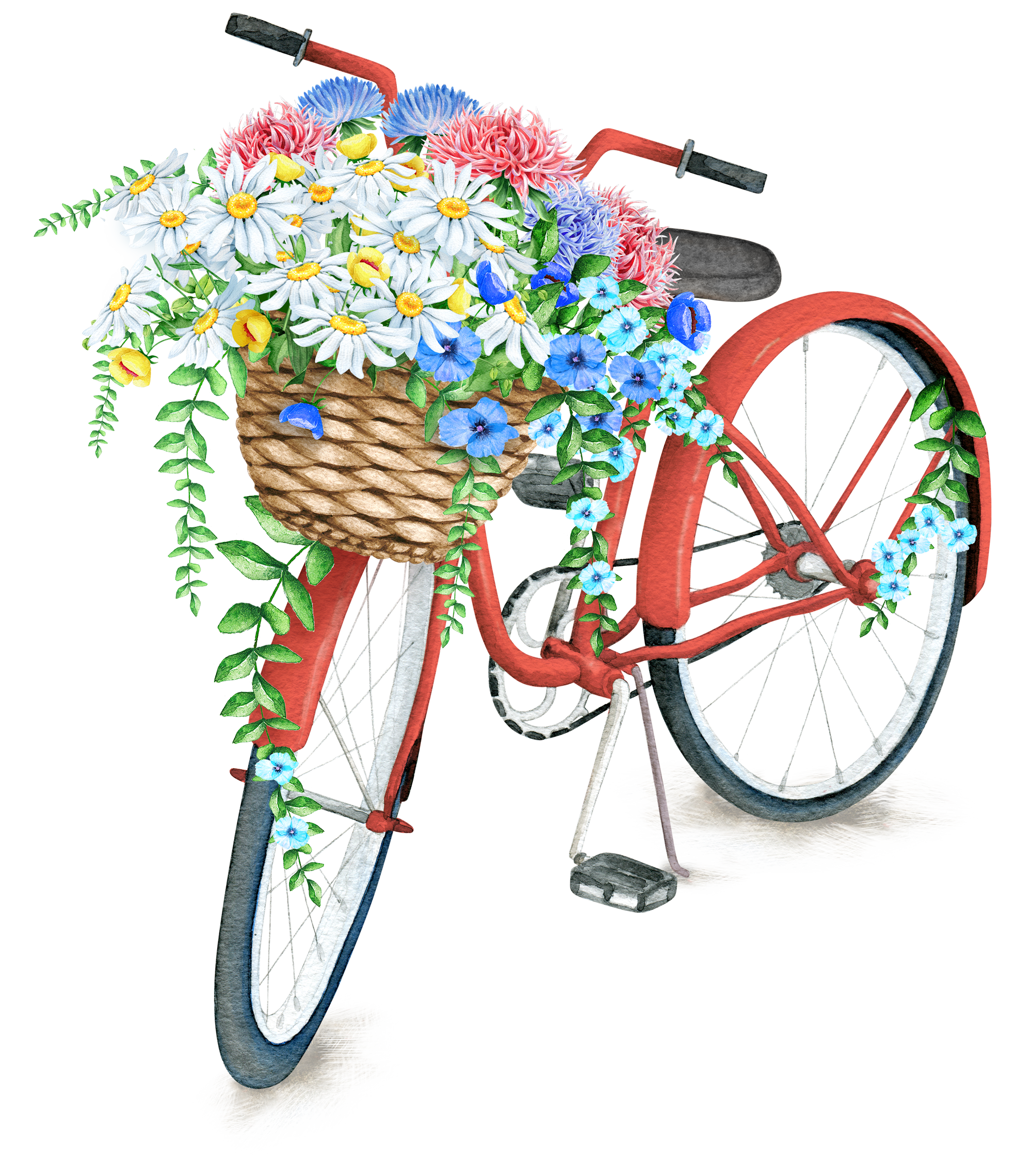 Bicycle with flower basket clipart image freeuse download Pin by Светлана on Картинки на белом фоне | Pinterest | Free collage ... image freeuse download