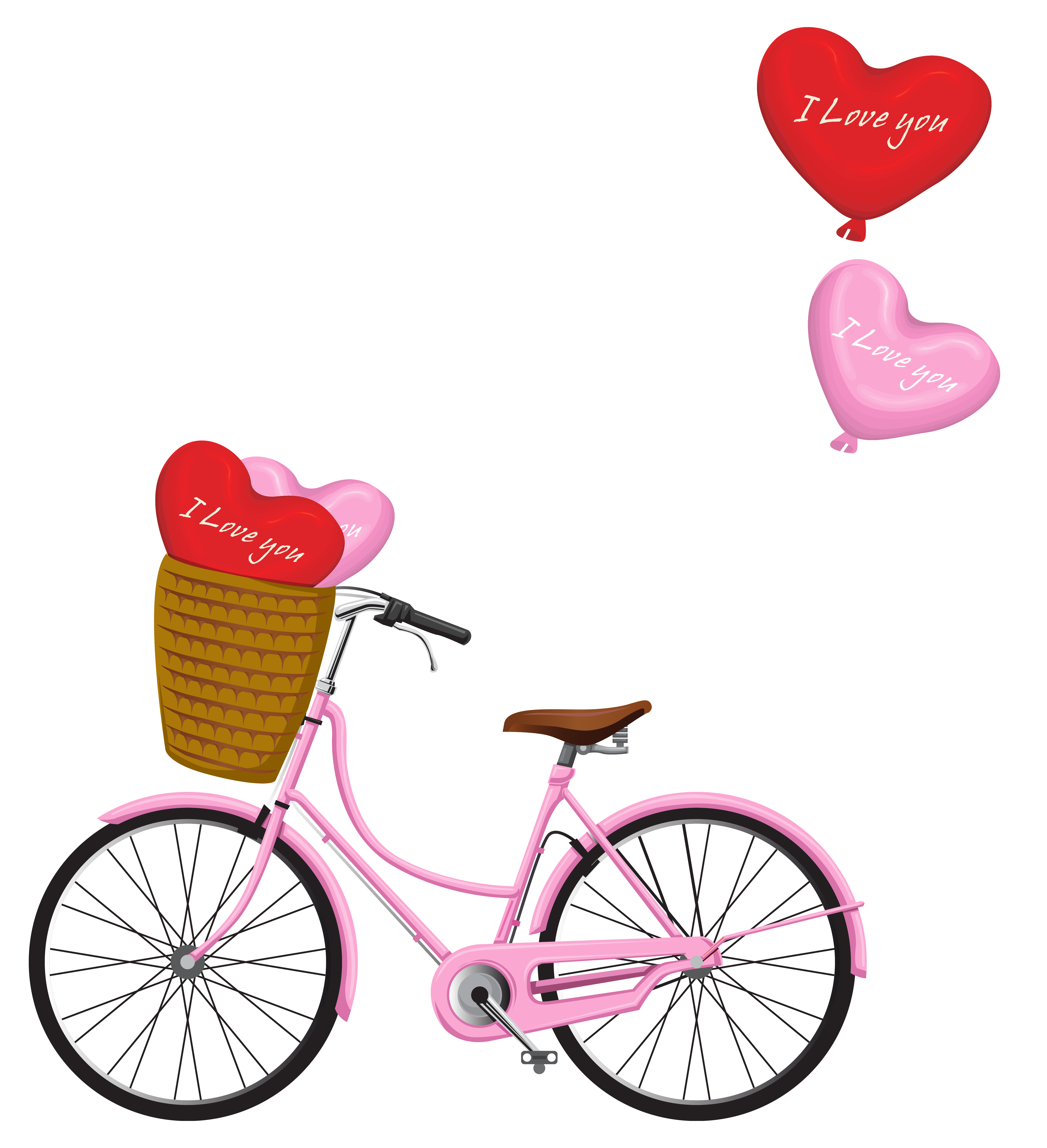 Bicycle with flower basket clipart black and white stock Valentine's Day Bicycle PNG Clipart Image | Gallery Yopriceville ... black and white stock