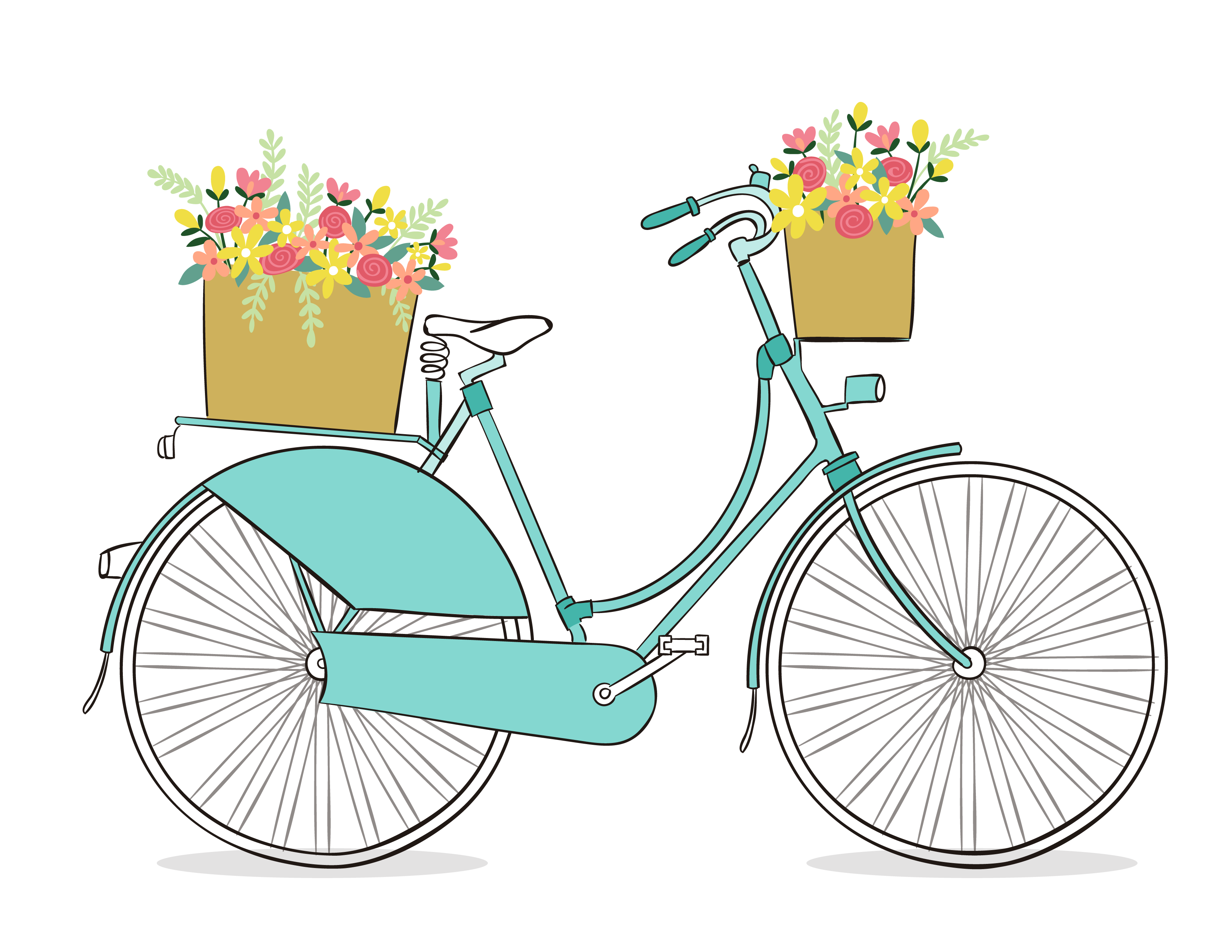Bicycle with flower basket clipart vector freeuse Free Romantic Bicycle Clip Art - Free Pretty Things For You vector freeuse