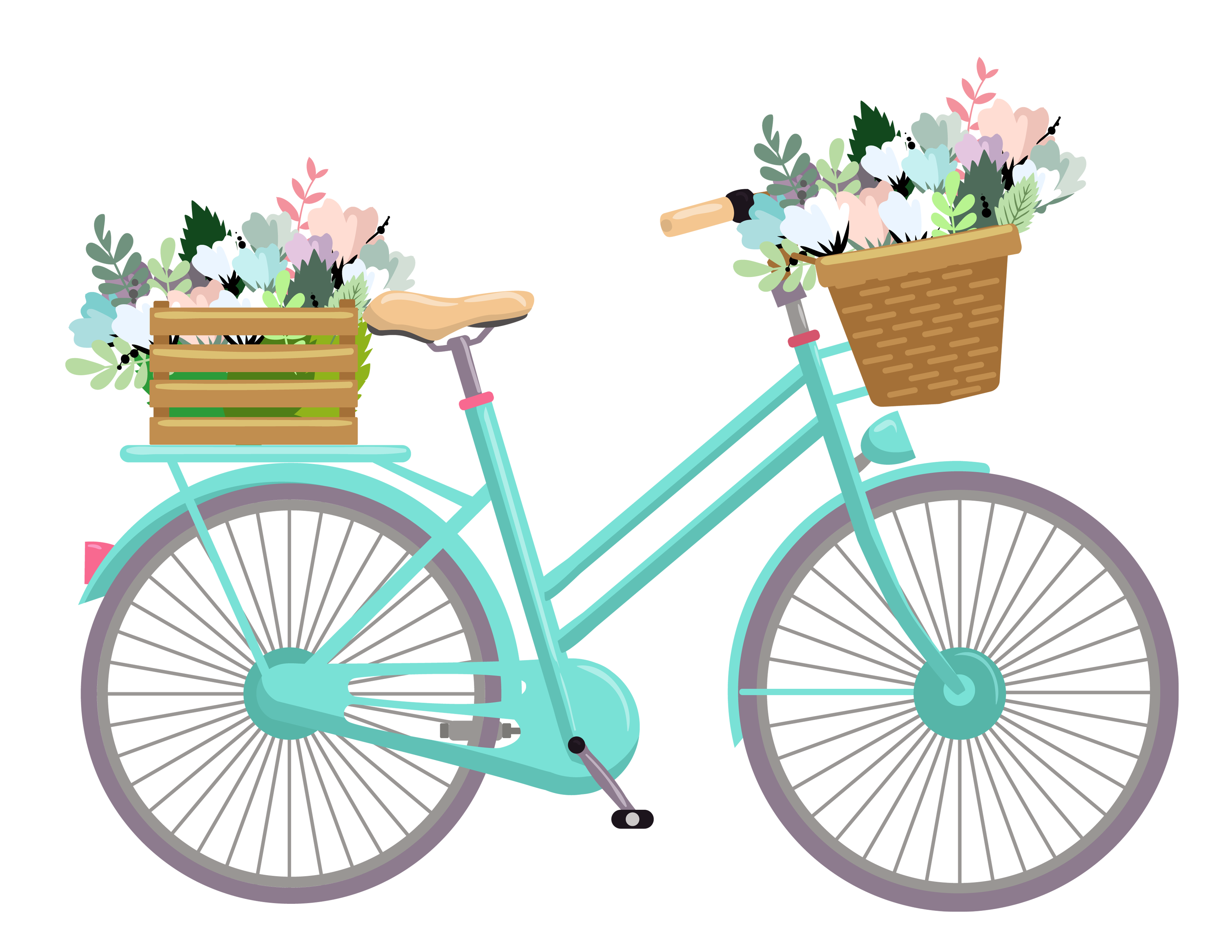 Bicycle with flower basket clipart clipart free download www.freeprettythingsforyou.com wp-content uploads 2016 09 free ... clipart free download