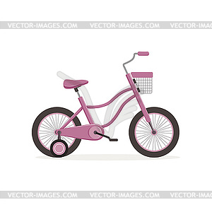 Bicycle with training wheels clipart graphic library stock Pink bike with training wheels, kids bicycle - vector EPS clipart graphic library stock