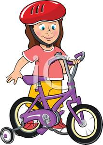 Bicycle with training wheels clipart clipart library A Young Girl with a New Bicycle with Training Wheels and a Helmet ... clipart library