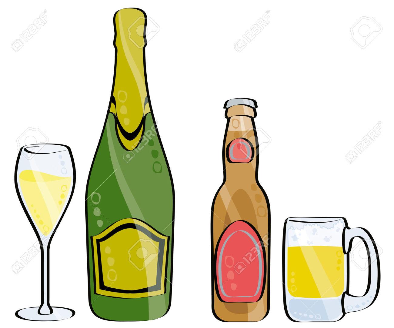 Bier und wein clipart clip art freeuse download Glas Und Flasche Champagner Und Bier Isolated On White Lizenzfrei ... clip art freeuse download