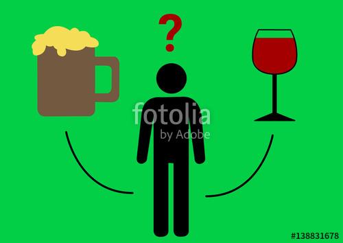 Bier und wein clipart graphic royalty free library Entscheidung zwischen Bier und Wein