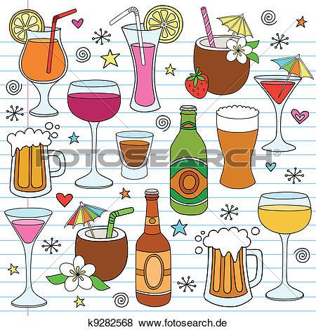 Bier und wein clipart picture royalty free Clip Art - bier, wein, getränke, vektor, gekritzel, satz k9282568 ... picture royalty free