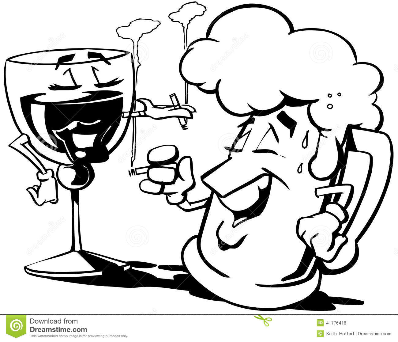 Bier und wein clipart picture black and white Martini And Beer Cartoon Vector Clipart Stock Vector - Image: 41776418 picture black and white