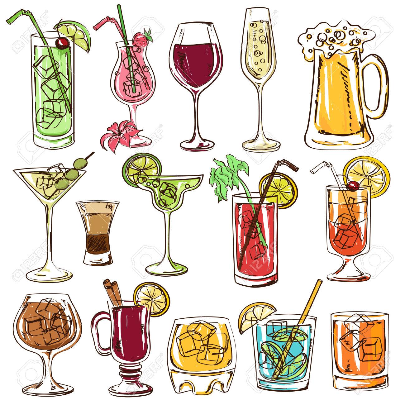 Bier und wein clipart graphic stock Set Von Isolierten Bunte Skizze Cocktails, Bier Und Wein ... graphic stock