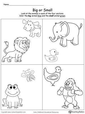 Big and small animals clipart clip library library Math worksheets for kindergarten big and small clip library library