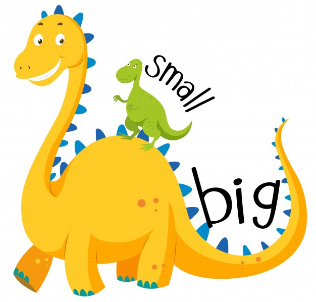 Clipart of big and small objects clip Opposite adjective big and small Vector | Free Download clip