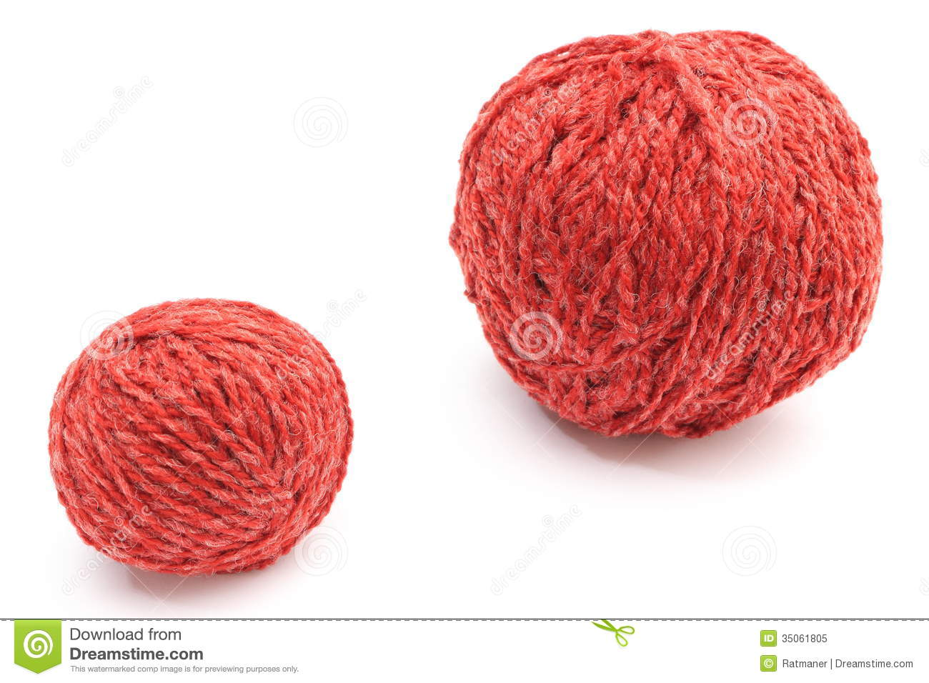 Big and small ball clipart clip art black and white Closeup Of Red Small And Big Wool Ball. White Background Stock ... clip art black and white