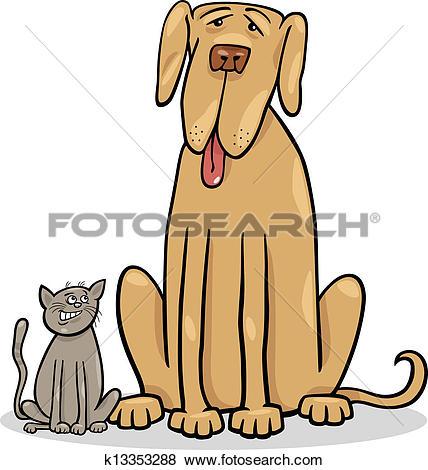 Big and small clipart vector download Clip Art of small cat and big dog cartoon illustration k13353288 ... vector download