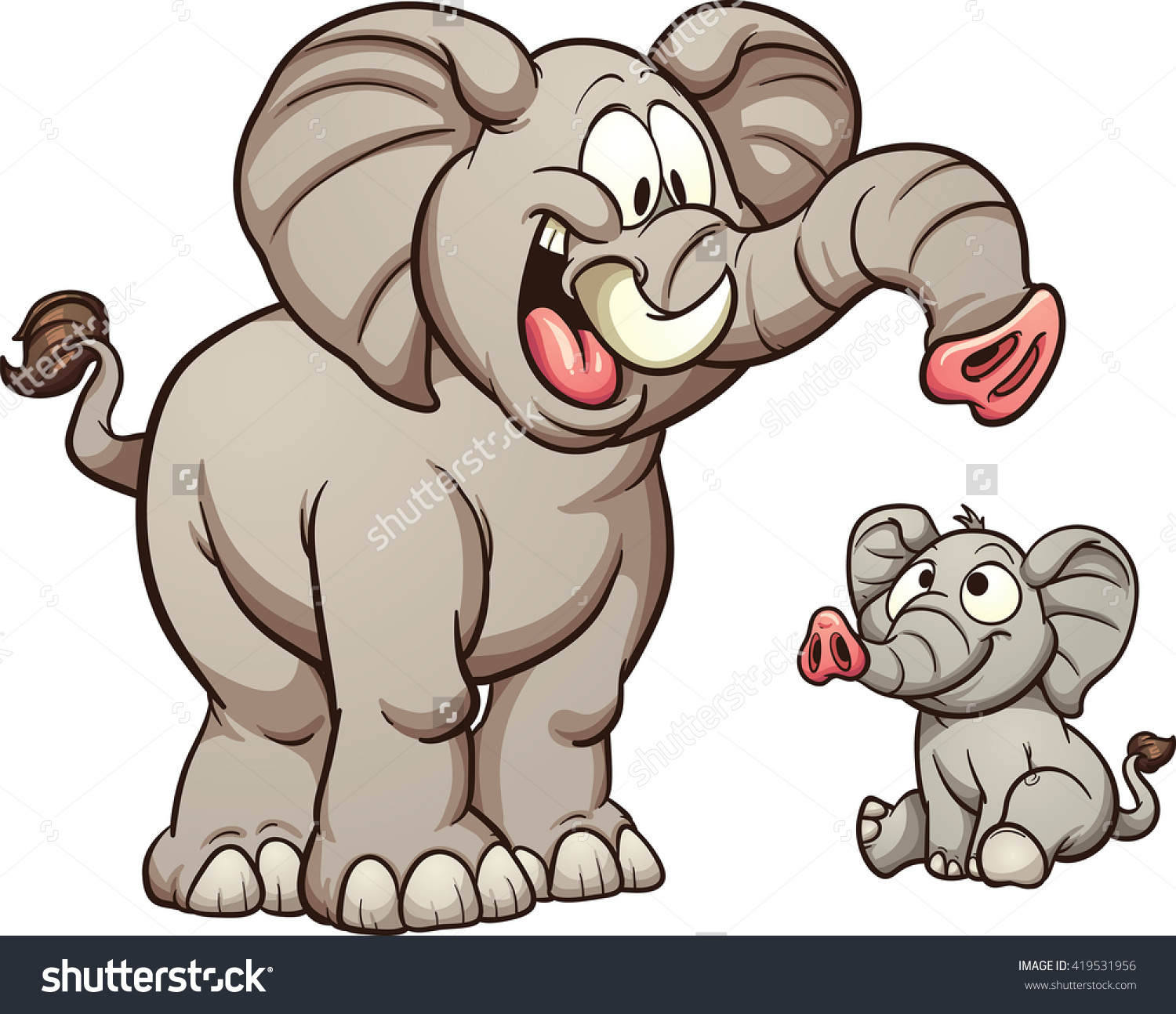 Big and small clipart graphic library library Big Small Cartoon Elephants Vector Clip Stock Vector 419531956 ... graphic library library