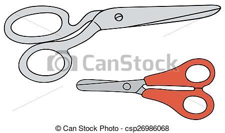 Big and small clipart svg transparent stock Clip Art Vector of Big and small scissors - Hand drawing of big ... svg transparent stock