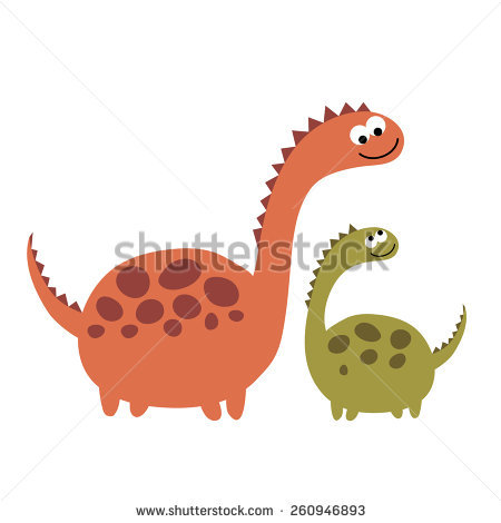 Big and small objects clipart clip freeuse Mother And Child: Dinosaurs Big And Small. Vector Illustration On ... clip freeuse