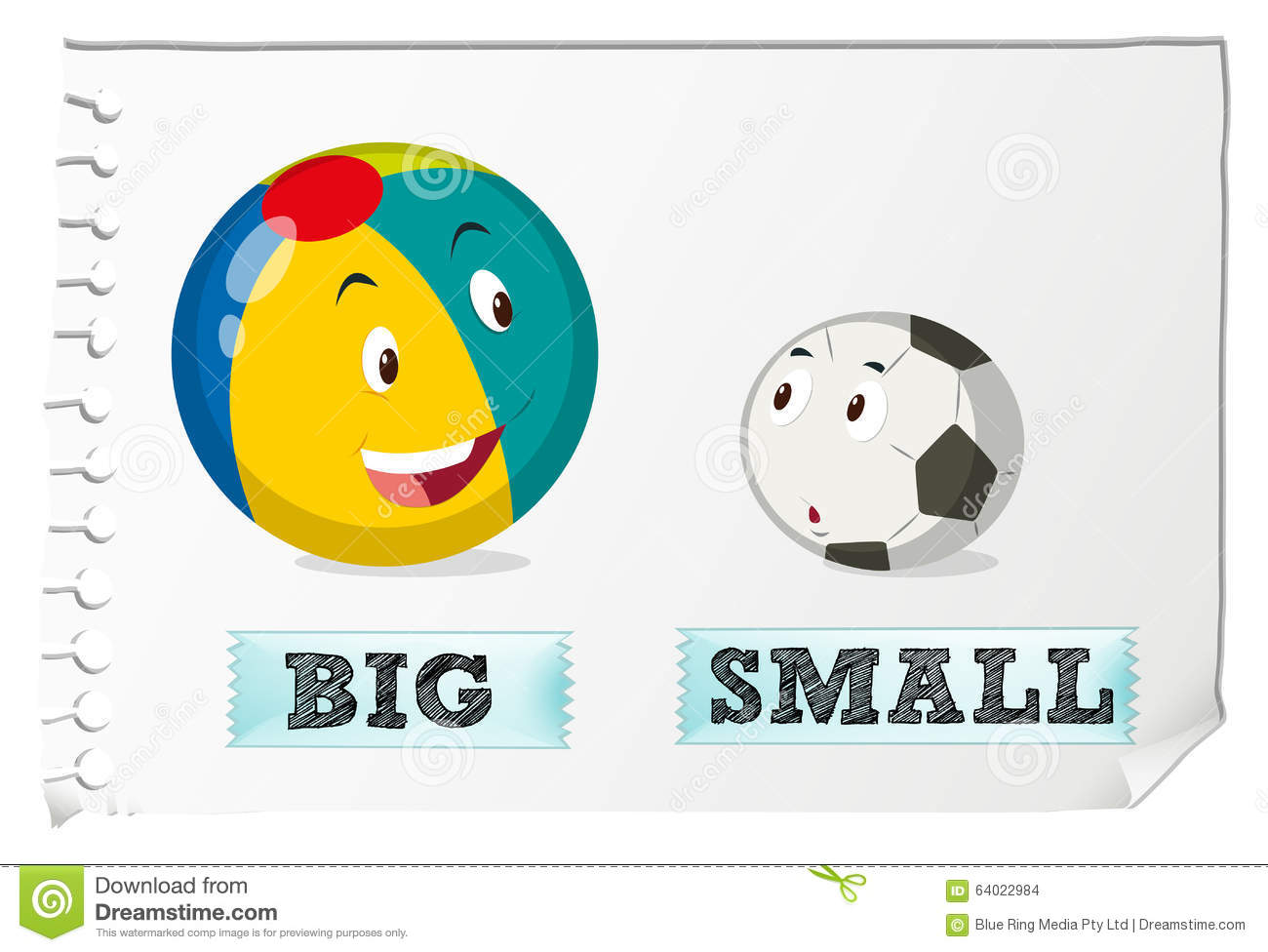Big and small objects clipart clip art free library Opposite Adjectives Big And Small Stock Vector - Image: 64022984 clip art free library