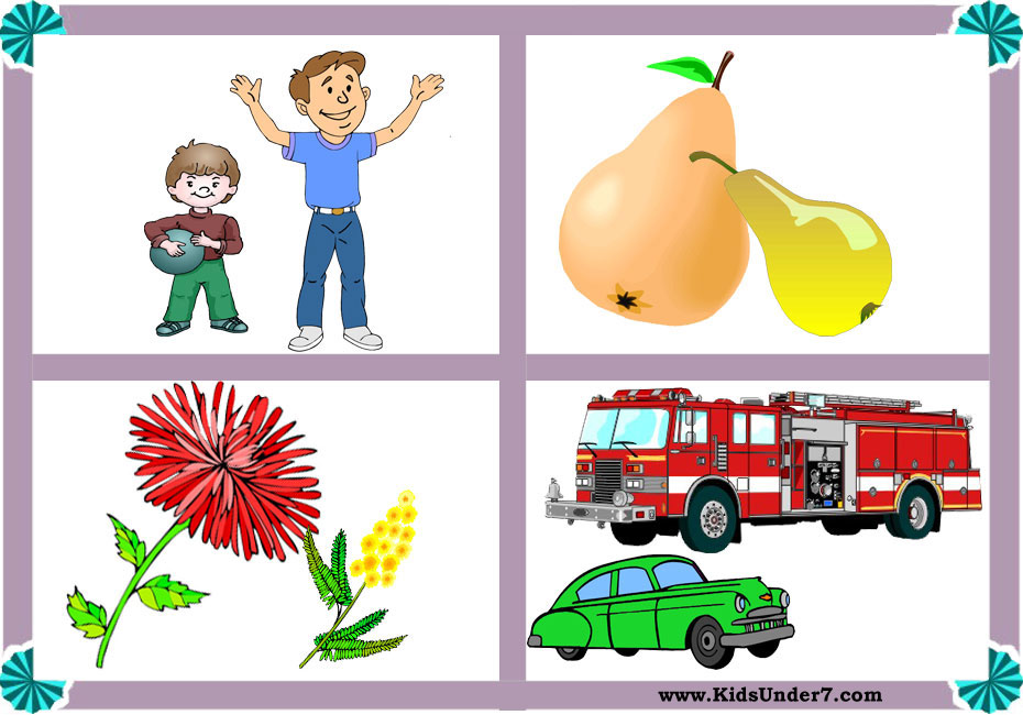 Big and small objects clipart png royalty free Kids Under 7: Big and Small Worksheets png royalty free