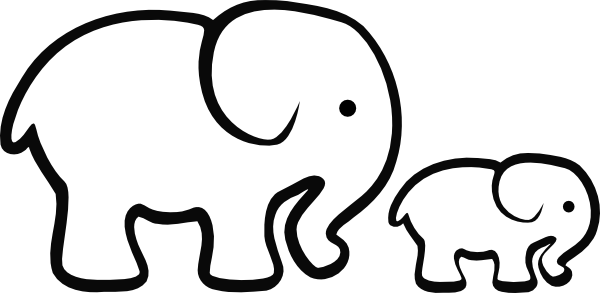 Mommy animal with their baby clipart black and white picture freeuse White Elephant Clipart | Free download best White Elephant Clipart ... picture freeuse