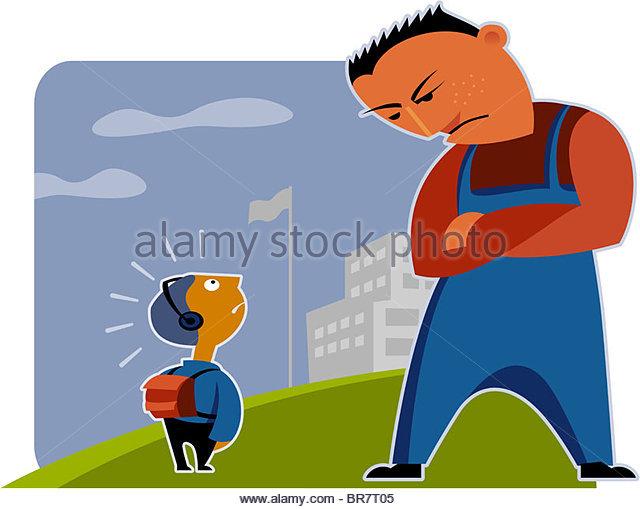 Big boy small boy clipart image black and white stock Big Boy Bullying Small Boy Stock Photos & Big Boy Bullying Small ... image black and white stock